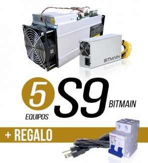 5 EQUIPOS S9 13.5 TH/s + 1...
